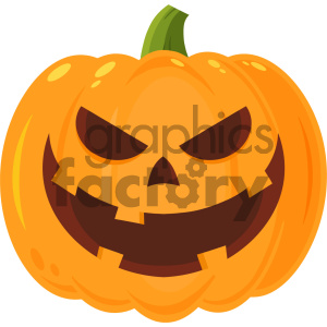 Grinning Evil Halloween Pumpkin Cartoon Emoji Face Character With Expression Vector Illustration Isolated On White Background clipart. Royalty-free image # 403965