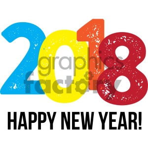 happy new year 2018 v2 clipart. Commercial use image # 404005