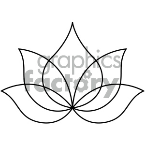 lotus tattoo design black+white flower outline