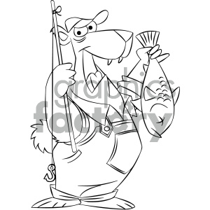 black and white cartoon bear fishing clipart. Commercial use image # 404183
