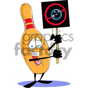 cartoon bowling pin mascot character protesting clipart. Commercial use image # 404202