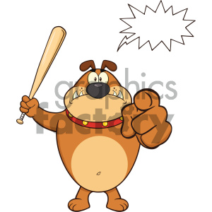 Royalty Free RF Clipart Illustration Angry Brown Bulldog Cartoon Mascot Character Holding A Bat And Pointing Vector Illustration Isolated On White Background With Speech Bubble clipart. Commercial use image # 404216