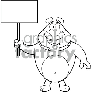 Royalty Free RF Clipart Illustration Black And White Happy Bulldog Cartoon Mascot Character Holding A Blank Sign Vector Illustration Isolated On White Background clipart. Royalty-free image # 404233