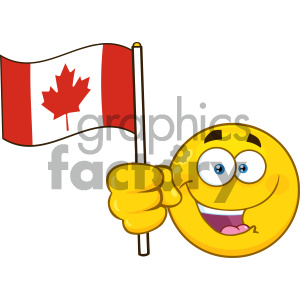 Royalty Free RF Clipart Illustration Patriotic Yellow Cartoon Emoji Face Character Waving An Canadian Flag Vector Illustration Isolated On White Background clipart. Royalty-free image # 404272