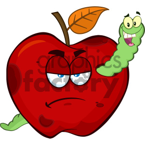 cartoon food mascot character vector happy fruit red+apple worm