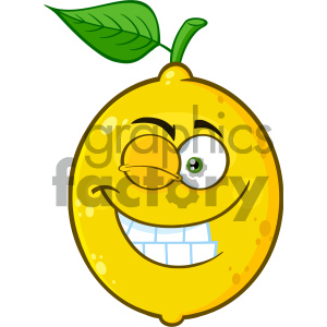 Royalty Free RF Clipart Illustration Smiling Yellow Lemon Fruit Cartoon Emoji Face Character With Wink Expression Vector Illustration Isolated On White Background clipart. Commercial use image # 404300