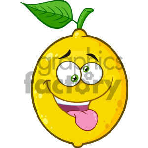 Royalty Free RF Clipart Illustration Mad Yellow Lemon Fruit Cartoon Emoji Face Character With Crazy Expression And Protruding Tongue Vector Illustration Isolated On White Background