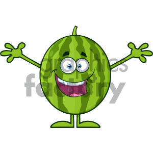 Royalty Free RF Clipart Illustration Happy Green Watermelon Fresh Fruit Cartoon Mascot Character With Open Arms Vector Illustration Isolated On White Background clipart. Commercial use image # 404309