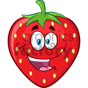 Royalty Free RF Clipart Illustration Happy Strawberry Fruit Cartoon Mascot Character Vector Illustration Isolated On White Background clipart. Royalty-free image # 404319