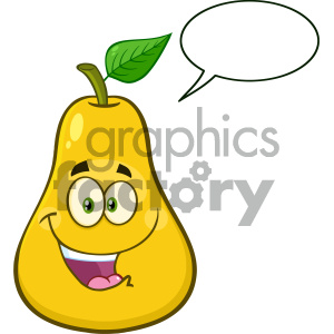 Royalty Free RF Clipart Illustration Happy Yellow Pear Fruit With Green Leaf Cartoon Mascot Character Vector Illustration Isolated On White Background With Speech Bubble clipart. Royalty-free image # 404328