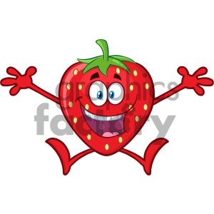 Royalty Free RF Clipart Illustration Happy Strawberry Fruit Cartoon Mascot Character With Open Arms Jumping Vector Illustration Isolated On White Background clipart. Commercial use image # 404329