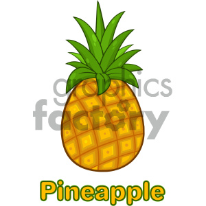 Royalty Free RF Clipart Illustration Pineapple Fruit With Green Leafs Cartoon Drawing Simple Design Vector Illustration Isolated On White Background With Text clipart. Royalty-free image # 404343