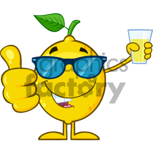 Royalty Free RF Clipart Illustration Yellow Lemon Fresh Fruit With Green Leaf Cartoon Mascot Character With Sunglasses Holding A Glass Of Lemonade And Giving A Thumb Up Vector clipart. Royalty-free image # 404369