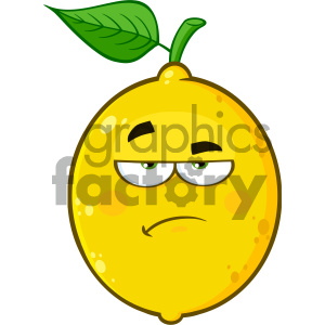 Royalty Free RF Clipart Illustration Grumpy Yellow Lemon Fruit Cartoon Emoji Face Character With Sadness Expression Vector Illustration Isolated On White Background