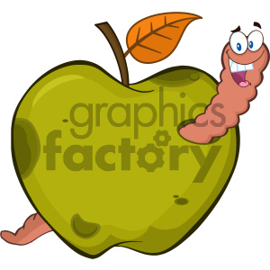 Royalty Free RF Clipart Illustration Happy Worm In A Rotten Green Apple Fruit Cartoon Mascot Character Design Vector Illustration Isolated On White Background clipart. Royalty-free image # 404376