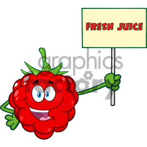 Royalty Free RF Clipart Illustration Red Raspberry Fruit Cartoon Mascot Character Holding A Sign With Text Fresh Juice Vector Illustration Isolated On White Background clipart. Royalty-free image # 404385