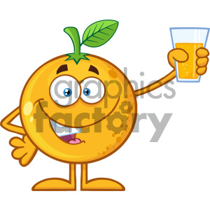 Royalty Free RF Clipart Illustration Orange Fruit Cartoon Mascot Character Presenting And Holding Up A Glass Of Juice Vector Illustration Isolated On White Background clipart. Commercial use image # 404403