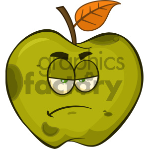 Royalty Free RF Clipart Illustration Grumpy Rotten Green Apple Fruit Cartoon Mascot Character Vector Illustration Isolated On White Background clipart. Commercial use image # 404416