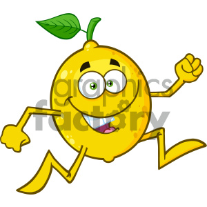 cartoon food mascot character vector happy fruit lemon running