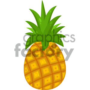 Royalty Free RF Clipart Illustration Pineapple Fruit With Green Leafs Drawing Flat Simple Design Vector Illustration Isolated On White Background clipart. Commercial use image # 404452