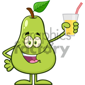 Royalty Free RF Clipart Illustration Pear Fruit With Green Leaf Cartoon Mascot Character Holding Up A Glass Of Juice Vector Illustration Isolated On White Background clipart. Commercial use image # 404456