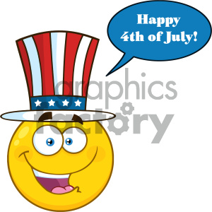 Happy Patriotic Yellow Cartoon Emoji Face Character Wearing A USA Hat With Speech Bubble And Text clipart. Royalty-free image # 404466