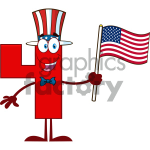 Patriotic Red Number Four Cartoon Mascot Character Wearing A USA Hat And Waving An American Flag clipart. Commercial use image # 404512