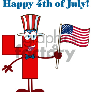 Patriotic Red Number Four Cartoon Mascot Character Wearing A USA Hat And Waving An American Flag With Text Happy 4 Of July clipart. Royalty-free image # 404516
