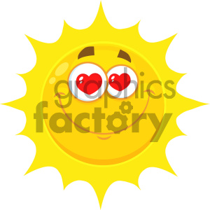 Royalty Free RF Clipart Illustration Loving Yellow Sun Cartoon Emoji Face Character With Hearts Eyes Vector Illustration Isolated On White Background clipart. Commercial use image # 404546