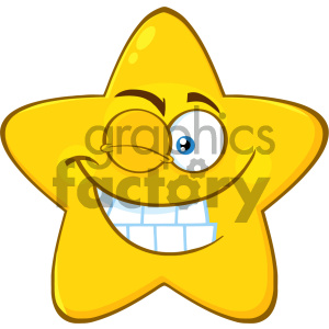 Royalty Free RF Clipart Illustration Smiling Yellow Star Cartoon Emoji Face Character With Wink Expression Vector Illustration Isolated On White Background clipart. Royalty-free image # 404548