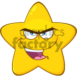 Royalty Free RF Clipart Illustration Evil Yellow Star Cartoon Emoji Face Character With Bitchy Expression Vector Illustration Isolated On White Background clipart. Commercial use image # 404561