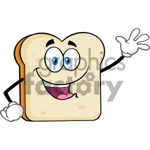Cute Bread Slice Cartoon Mascot Character Waving For Greeting Vector Illustration Isolated On White Background clipart. Royalty-free image # 404647