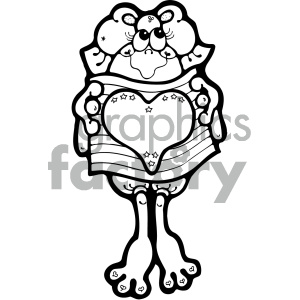 vector art patriotic frog 001 bw clipart. Royalty-free image # 404707