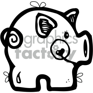 cartoon clipart pig 001 bw clipart. Commercial use image # 404915