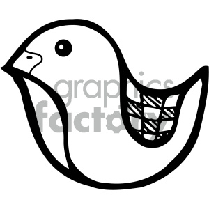 cartoon animals vector PR bird black+white