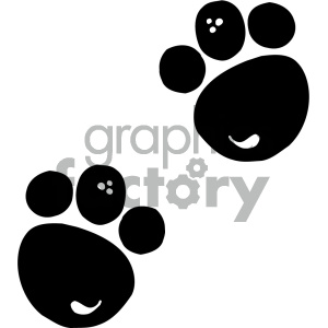 cartoon clipart animal tracks 004 bw clipart. Commercial use image # 404951
