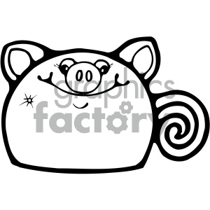 cartoon clipart gumdrop animals 001 bw clipart. Royalty-free image # 404957