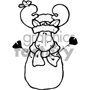 cartoon clipart moose 017 bw clipart. Royalty-free image # 404981