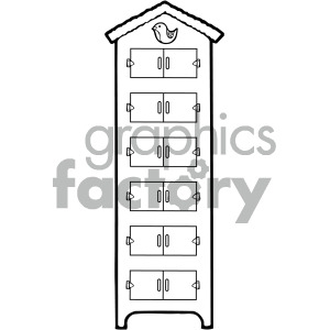 black white dresser with drawers clipart