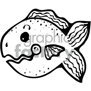 cartoon vector fish 001 bw clipart. Commercial use image # 405277
