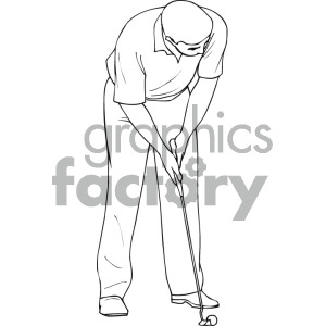 black and white image of man golfing clipart. Commercial use image # 169202
