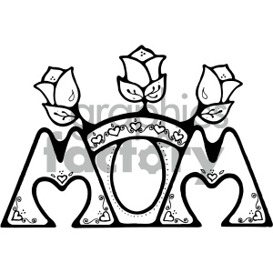 black and white momvector art clipart. Commercial use image # 405300