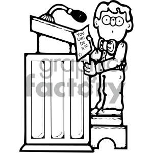 cartoon people human character cute man boy reading podium speaking black+white