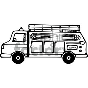 black white fire truck clipart. Royalty-free image # 405463