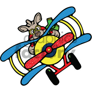 kangaroo flying a plane clipart. Commercial use image # 405473