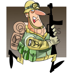 cartoon character mascot funny military soldier serviceman