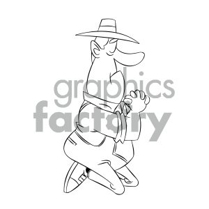 black and white cartoon farmer praying for rain royalty free vector art clipart. Royalty-free image # 405570