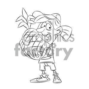 black and white cartoon girl holding huge pineapple clipart. Commercial use image # 405580