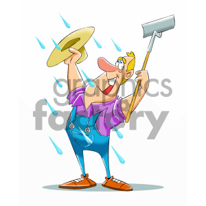 cartoon farmer happy to see rain royalty free vector art clipart. Royalty-free image # 405604