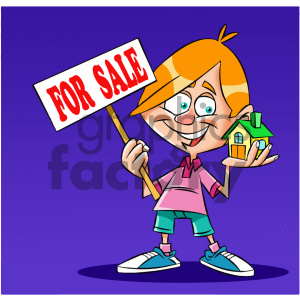 cartoon guy holding a house for sale